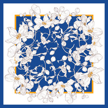 Silk Scarf With Apple Blossom. Abstract Seamless Vector Pattern With Hand Drawn Floral Elements.