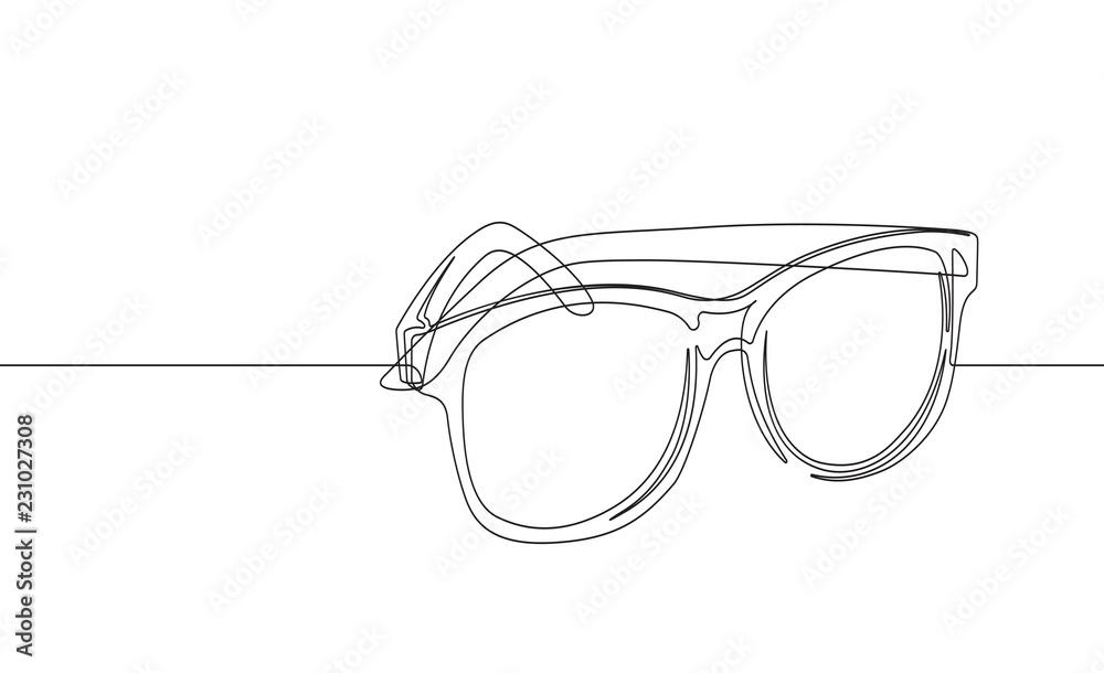 Fototapeta Sunglasses Continuous Line Vector Graphic