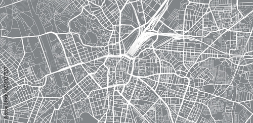 Fototapeta Urban vector city map of Leipzig, Germany