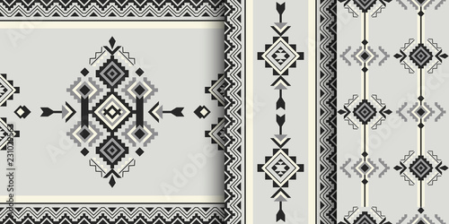 Foto auf AluDibond Boho-Stil Set of geometric patterns in ethnic style.