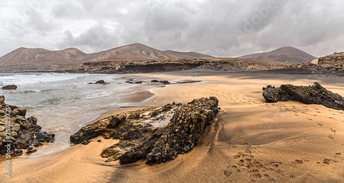 Poster Canarische Eilanden La Solapa, a Virgin Gold-Colored Sandy Beach in Fuerteventura, Canary Islands