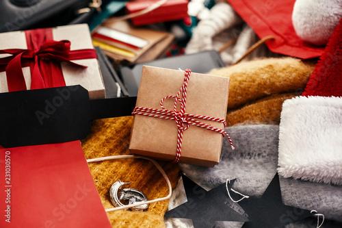 Christmas shopping and seasonal sale  Gift box with empty