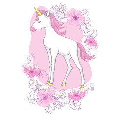 Cute vector unicorn. Magic character with pink mane surrounded by star dust for sticker, card, t-shirt and funny children's design.