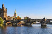 View On Charles Bridge On Vltava River In Prague, Czech Republic.