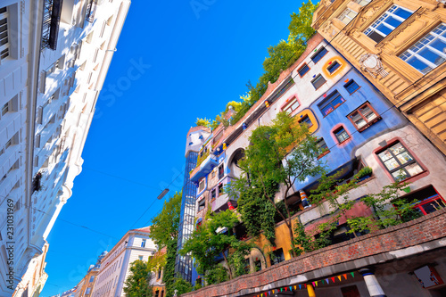 Tuinposter Wenen Colorful Hundertwasserhaus architecture of Vienna view