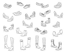 Women Shoes Collection, Vector...