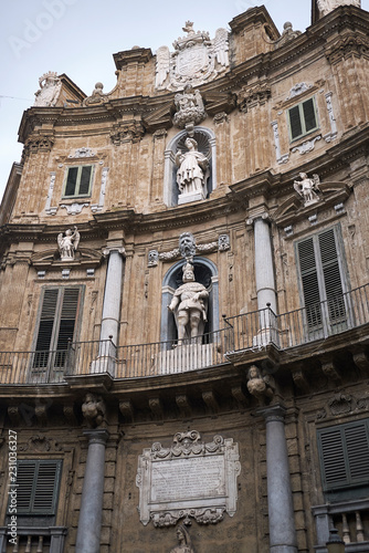 Palermo, Italy - September 07, 2018 : View of Quattro Canti (south east corner)