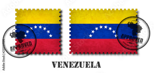 Venezuela or Venezuelan flag pattern postage stamp with grunge old scratch texture and affix a seal on isolated background Canvas Print