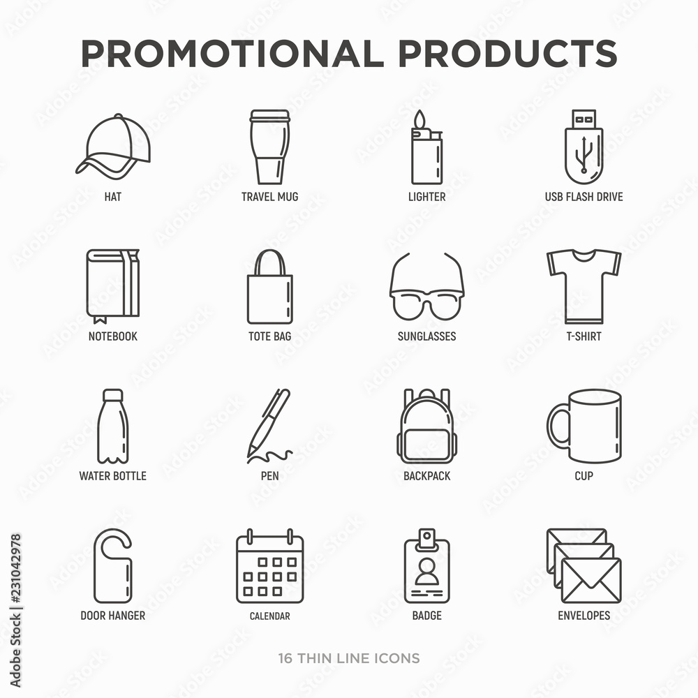 Fototapety, obrazy: Promotional products thin line icons set: notebook, tote bag, sunglasses, t-shirt, water bottle, pen, backpack, cup, hat, travel mug, usb, lighter, calendar. Modern vector illustration.
