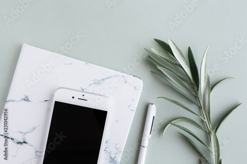 Smartphone, notebook with pen and olive leaf branch on desk