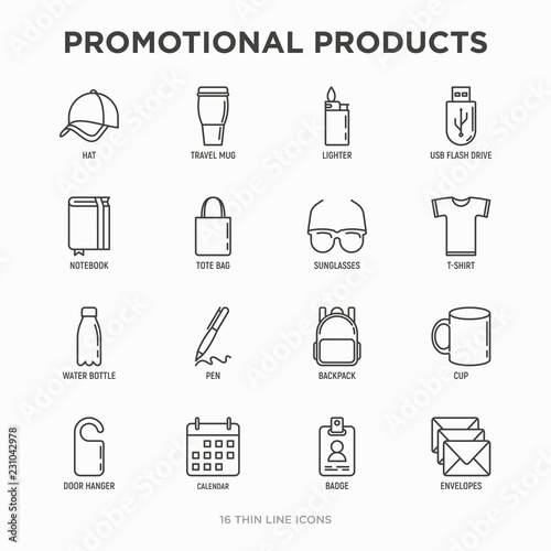 Fotografía  Promotional products thin line icons set: notebook, tote bag, sunglasses, t-shirt, water bottle, pen, backpack, cup, hat, travel mug, usb, lighter, calendar
