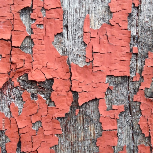 Red old paint flaked on wood - 231043939