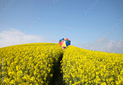 Person walking in the field with umbrella