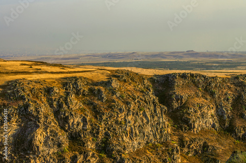Late autumn evening over the Kasakh river canyon near the Samosavank church near the town of Ashtarak