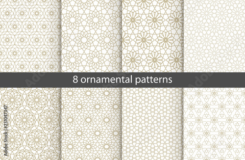 Poster Artificiel Set of oriental patterns. White and gold background with Arabic ornaments. Patterns, backgrounds and wallpapers for your design. Textile ornament. Vector illustration.