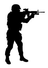 Police Special Forces, Counter Terrorist Team Shooter In Helmet Standing And Aiming With Collimator Sight On Service Rifle Side View, Full Length, Black Vector Silhouette Isolated On White Background