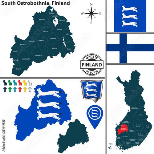 Fotografie, Obraz  Map of South Ostrobothnia, Finland