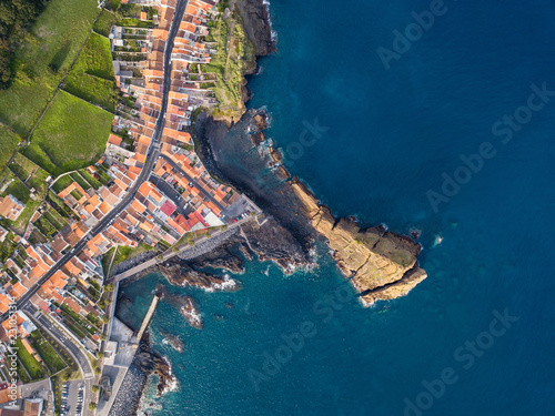 In de dag Europa Top view of Ponta Delgada coast, San Miguel island, Azores, Portugal.