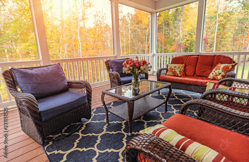 Beautiful screened in porch during fall Canvas