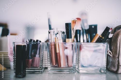 Close up of makeup set