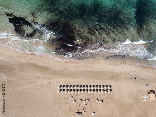 Aerial footage of Falasarna beach. Crete, Greece