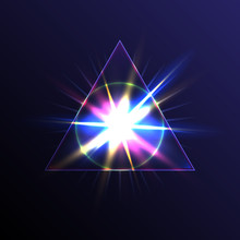 Transparent Triangular Pyramid With A Circle Sphere In The Center On The Background Of A Bright Flash Of Star Light