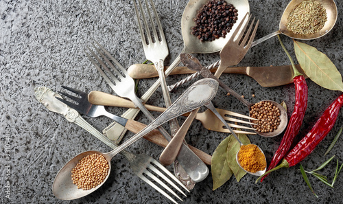 Herbs and spices in different spoons on a metal table.