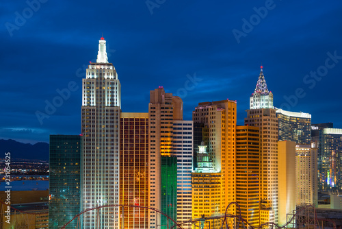 Photo Stands Las Vegas New York Skyline replica in Las Vegas, Nevada, USA.