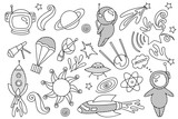 Outer space objects in doodle style. Cute astronaut in space. Spacecraft with doodle waves. Easy to change colors. - 231054707