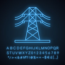 High Voltage Electric Line Neon Light Icon
