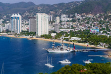 Acapulco Mexico Pacific Ocean View Of The Port And La Costera