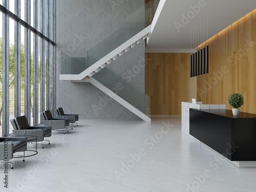Obraz na płótnie Interior of a hotel office lobby spa reception 3D illustration