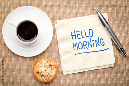 Photo  Hello morning - napkin note and coffee