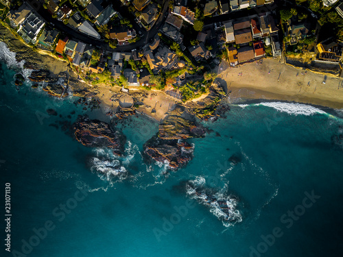 Aerial view of a beach houses by the water
