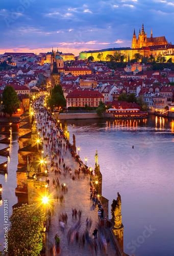 obraz PCV View of Prague castle and Charles bridge