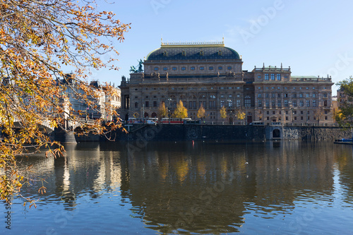 Foto op Canvas Theater View on the autumn Prague National Theater, Czech Republic
