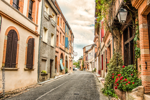 Main street of Saint Ybars village. Middi Pyrenees . France.