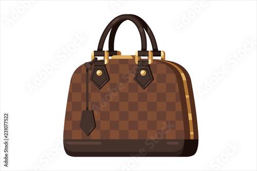 Fototapeta Brown fashion woman bag in flat vector style  obraz