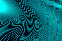 Abstract Dark Turquoise Geometric Pattern With Waves. Striped Spiral Texture. Raster Illustration