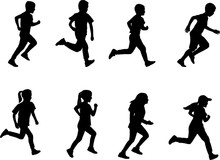 Kids Running Silhouettes - Vector