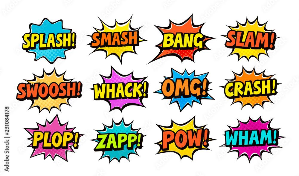 Fototapeta Set of comic speech bubbles. Cartoon vector illustration