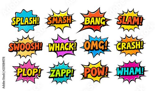 Set of comic speech bubbles. Cartoon vector illustration - 231084178