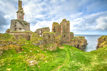 Scottish Fortress Of Castle Sinclair Girnigoe, The Most Spectacular Ruin In The North Of Scotland, In The Highlands Near Wick On The East Coast Of Caithness.