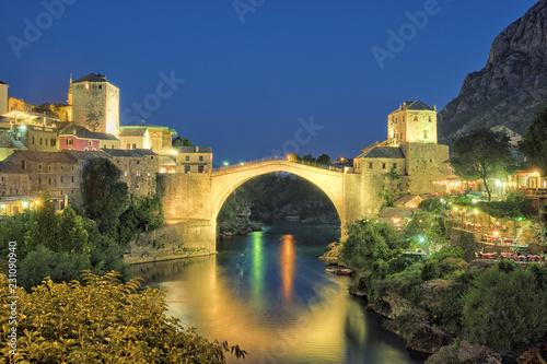 Montage in der Fensternische Honig Mostar Old Bridge, Bosnia And Herzegovina