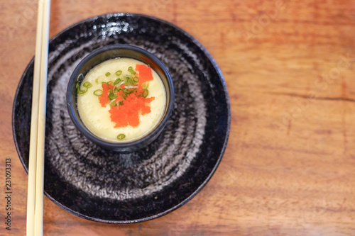 Steamed eggs, Egg custard dish, Chawanmushi in Japanese topped with eggs shrimp.