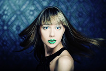 Model With Green Lips