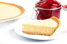 Classic Plain No Bake Cheesecake In A Graham Cracker Crust And Cherries