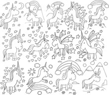 Super Cute Unicorn Doodle Vector Illustration Set