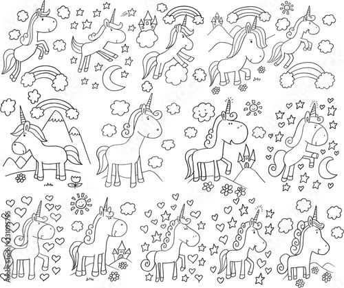 Poster Cartoon draw Cute Unicorn Doodle Vector Set