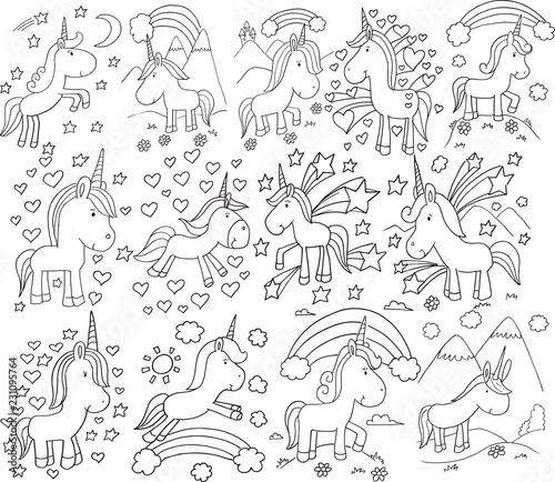 Tuinposter Cartoon draw Super Cute Unicorn Doodle Vector Illustration Set